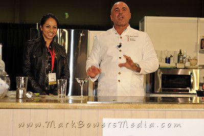 """Photographs of Celebrity Chef Kitchen at NATPE 2009 in Mandalay Bay Convention Center in Las Vegas, Nevada. LG Electronics and Wholefoods are direct sponsors of Celebrity Chef Kitchen. The famous mixologist Tony Abou-Ganim hosting the show on the last day with a mixology contest between members representing NBC, FOX and MGM. MGM wins contest with their """"Lion's Blood"""" concoction. Shelly Janson of Janson Food Events produced the show for Celebrity Chef Kitchen at NATPE 2009."""