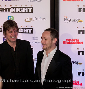 Matchbox Twenty members Rob Thomas (L) and Paul Doucette have some fun on the red carpet during the Muhammad Ali Celebrity Fight Night XVII at JW Marriott Desert Ridge Resort & Spa in Phoenix on Saturday, March 19, 2011.