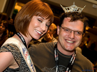 My buddy Joel Jarvis in hi-jinks with Miss Nevada Christina Keegan, widely admired as a fun-loving, great ambassador for the crown!  High quality photograph Celebrity Poker Tournament Caesar's Palace fundraiser for Opportunity Village.  Photography by Mark Bowers, www.ReallyVegas.com