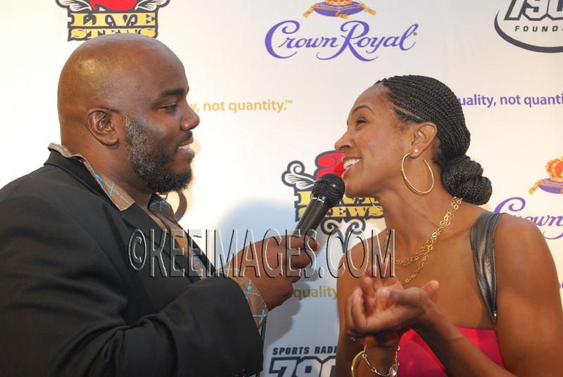 Actress Terri Vaughn being interviewed by Griffey 2K