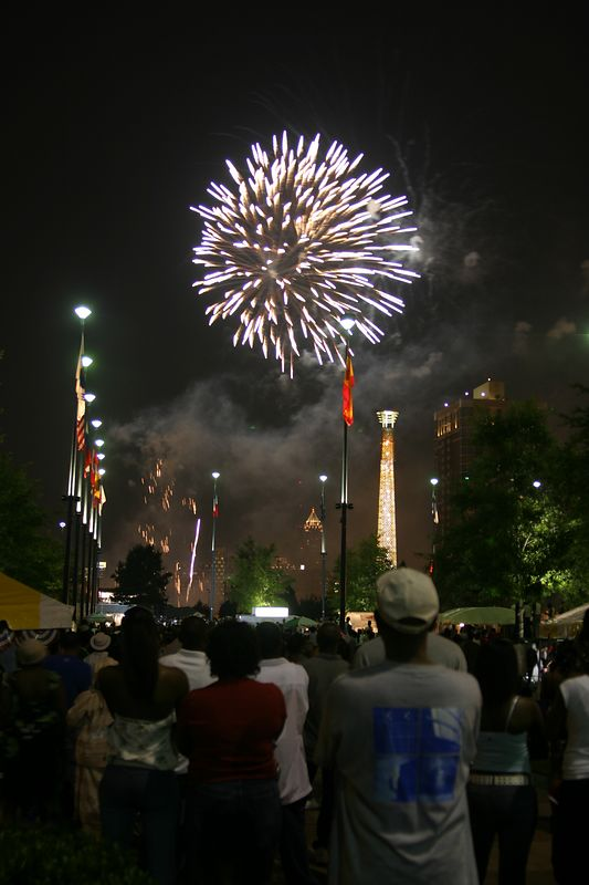 USA, Georgia, GA, Atlanta, Centennial Olympic Park, 4th of July Celebration, Fireworks