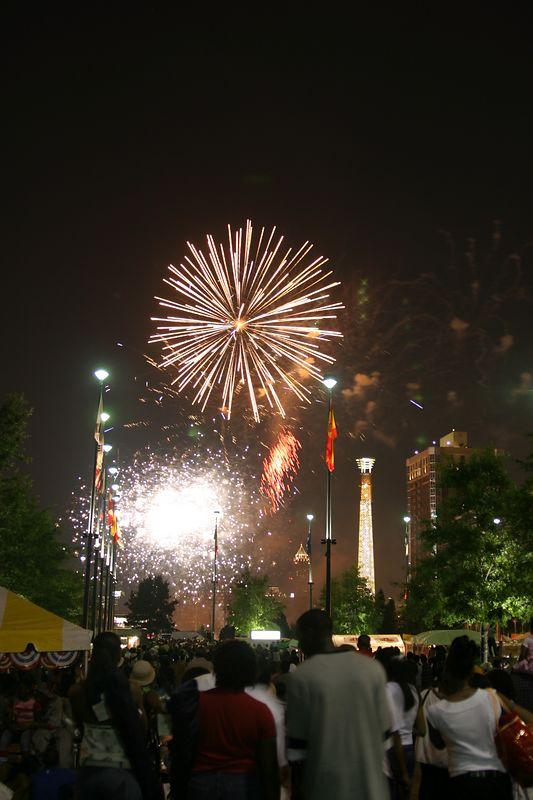 USA, Georgia, GA, Atlanta, Centennial Olympic Park, 4th of July Celebration, Fireworks