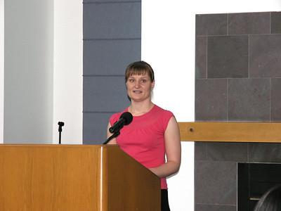 Elena Endrukaite accepting her Departmental Citation