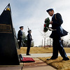 "Cadet John Nguyen places a wreath at the Ellison Onizuka Memorial during the ceremony. Onizuka was a CU graduate.<br /> Air Force ROTC cadets at the University of Colorado held a memorial to honor the crews of Challenger and Columbia space shuttle disasters on Saturday on campus. For more photos and a video of the ceremony, go to  <a href=""http://www.dailycamera.com"">http://www.dailycamera.com</a>.<br /> Cliff Grassmick/ January 29, 2011"