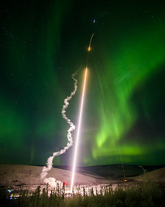 A research rocket launches from UAF's Poker Flat Research Range about 30 miles north of Fairbanks in January, 2015. The project helped scientists at UAF and elsewhere measure effects of turbulence in the upper atmosphere.