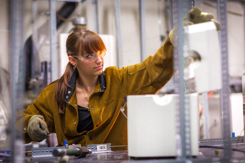 Ph.D. candidate Amanda Lindoo works in the Reichardt Building petrology lab.