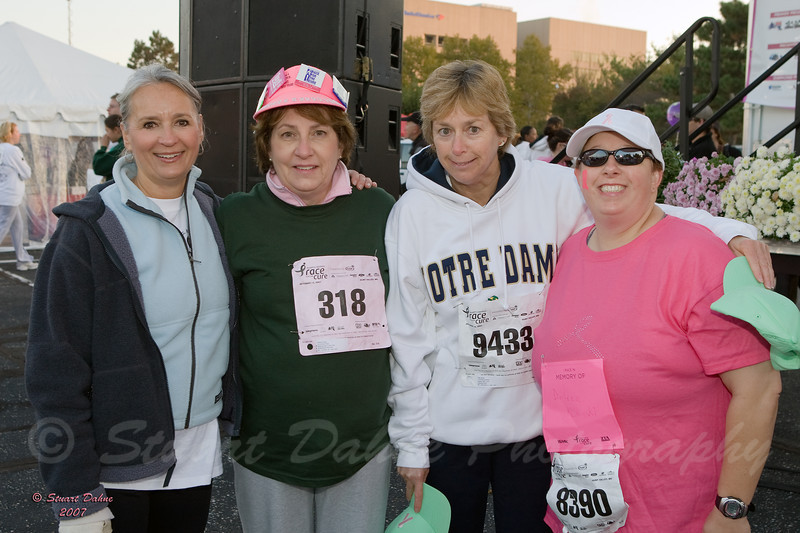 """Robin Prothro (far left) with 3 women who have run in """"The Race for the Cure"""" for the past 15 years that it has been in existence."""