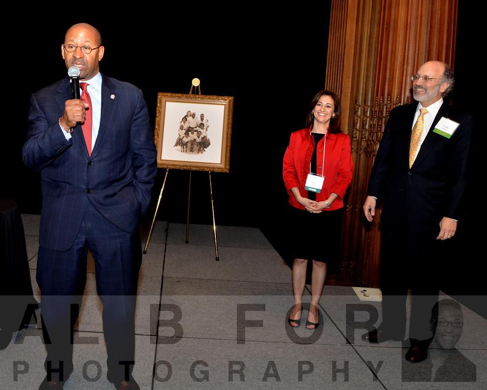 Hon. Mayor Michael Nutter with Katayun Jaffari, Partner~Ballard Spahr & Frank Cervonne