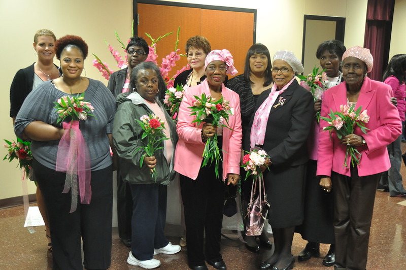 Members of Celebrating Life After Breast Cancer pose with founder Annie Staten.