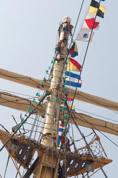 Barque Kruzenshtern, Russian tall ship - sailors up the mast