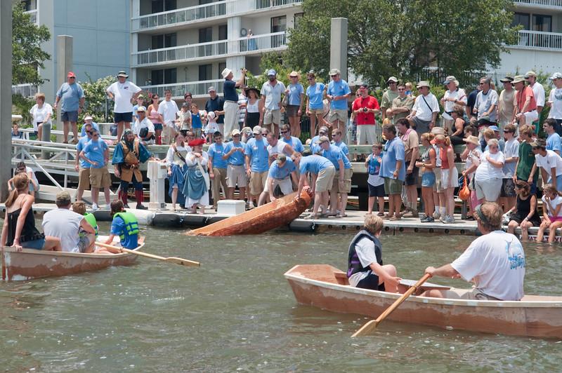 Wooden log canoe launch & float test