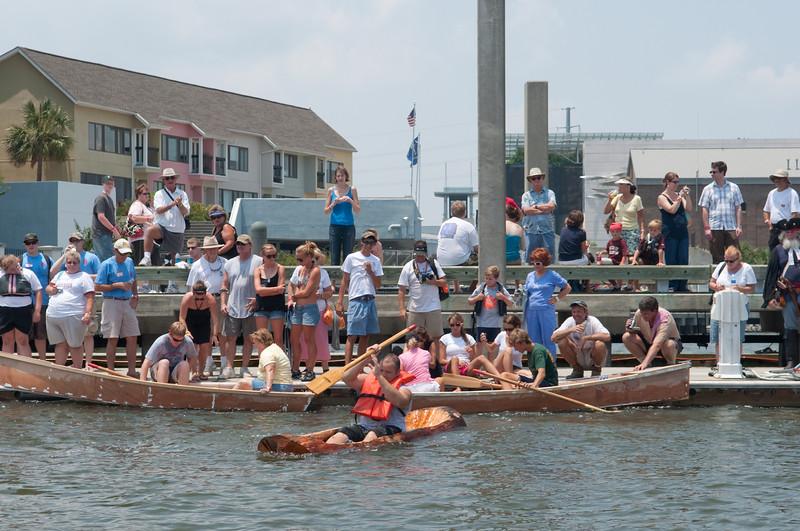 Wooden log canoe launch & float test II