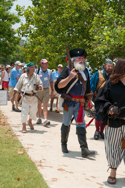 Pirates leading the Wooden Boat launch parade