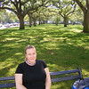Rachel sitting by battery park in Charleston, SC