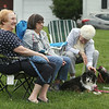 Chelmsford Community Band performs concert on Town Common in its Summer on the Common series.  From left, Simonne  Skoczolek of Chelmsford, Diane Michaud of Chelmsford, Simone Allard, formerly of Chelmsford, now of Nashua, with her mini-Australian shepherd, Oreo. (SUN/Julia Malakie)