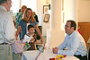 Jim Burke enjoys a chat with guests. Chemers Gallery Children's Book Illustration Show and Signing 2006.