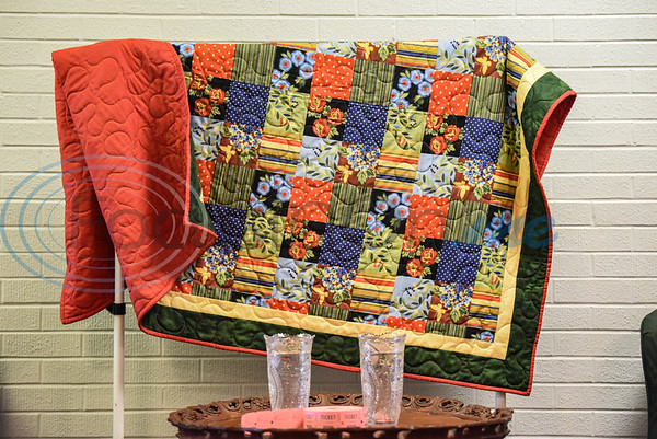 A quilt stands on display at the Cherokee Craft & Trade Fair on Saturday, March 14. The event is held at the Ruby Ballroom in Jacksonville each month where the quilt will be raffled off at the September 12th show.