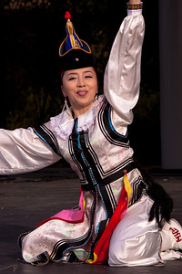 Mongolian dancers perform on the outdoor stage