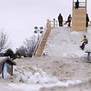 Record-Eagle/Keith King<br /> Competitors participate in the EpicHappens 'Downtown Throwdown Rail Jam' Saturday, February 19, 2011 during the Cherry Capital Winter Wow!Fest.