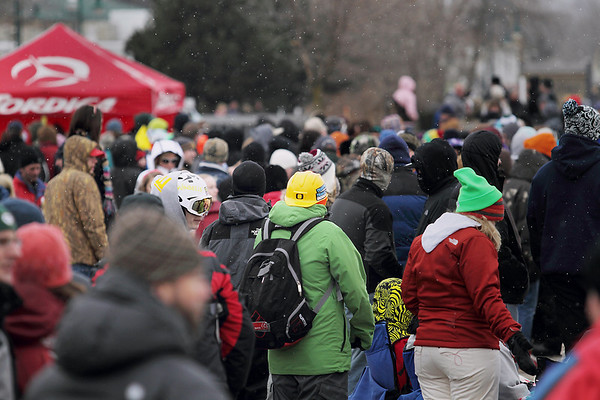 Record-Eagle/Keith King<br /> Attendees of the Cherry Capital Winter Wow!Fest wait for the start of the EpicHappens 'Downtown Throwdown Rail Jam' Saturday, February 19, 2011.