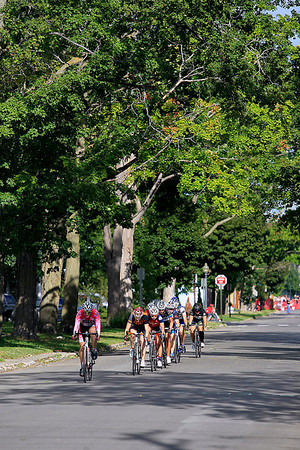Record-Eagle/Jan-Michael Stump<br /> The Cherry Roubaix Old Town Criterium USAC Pro 1, 2, 3 Women's Race heads down Seventh Street Saturday in Traverse City.