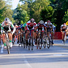 Record-Eagle/Jan-Michael Stump<br /> Ben Renkema of South Carolina leads the pack down Union Street for the win in the Cherry Roubaix Old Town Criterium USAC Pro 1, 2 Men's race Saturday in Traverse City.