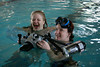 Lorraine and Andi practice with the underwater camera rig.