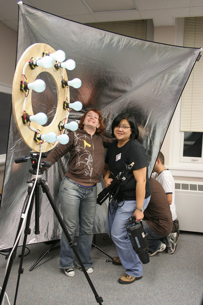 Andi & Nano in front of Nano's giant reflector, and the ring of fire...