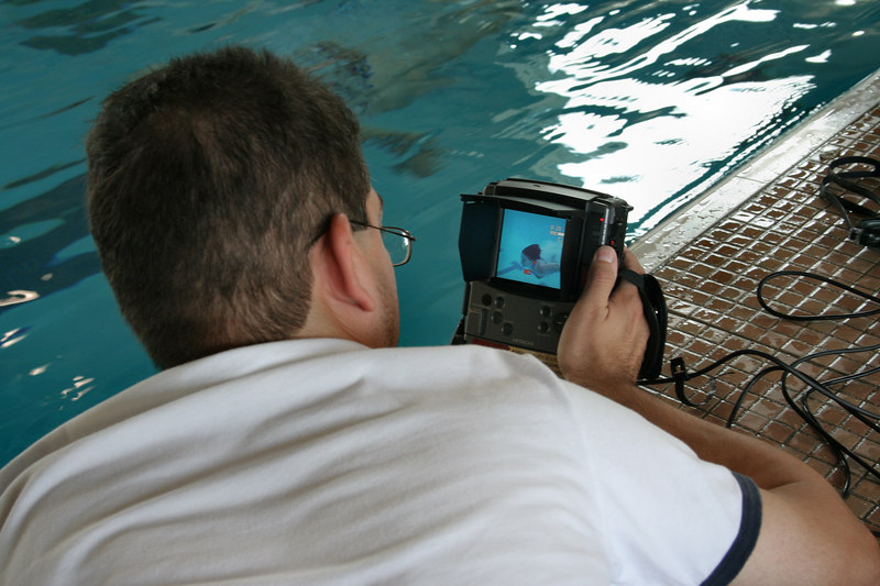 more cool toys!  Here's the remote monitor for the underwater video.  zoom in on the monitor screen for Andi swimming.