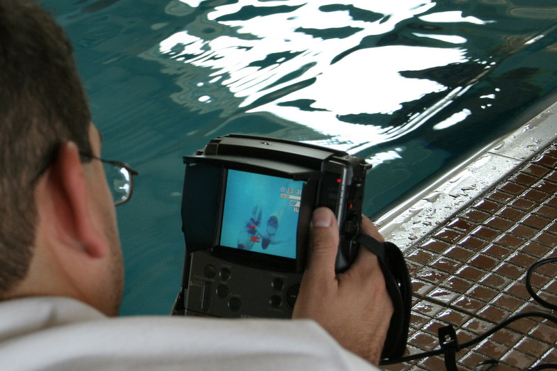 more cool toys!  Here's the remote monitor for the underwater video.  zoom in on the monitor screen for Andi & Brian swimming.