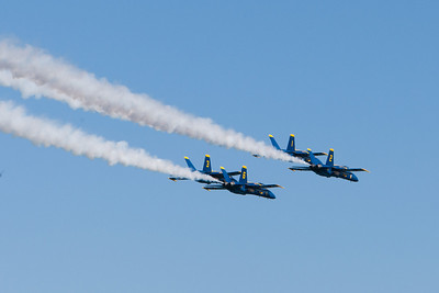 Blue Angels formation, smoke trail