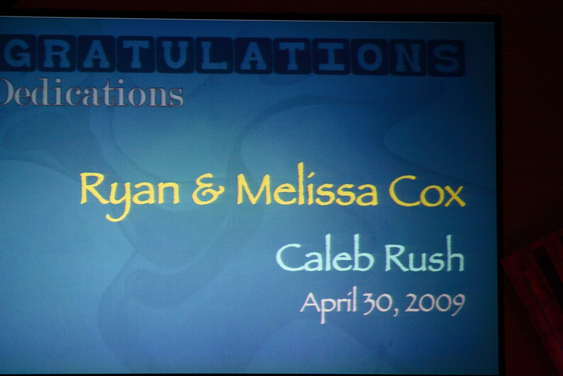 <h3><strong>Ryan & Melissa Cox</strong></h3> Caleb Rush April 30. 2009