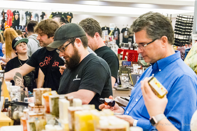 Evan and Mike checking out the beard soaps. I can understand why one is looking, but the other?