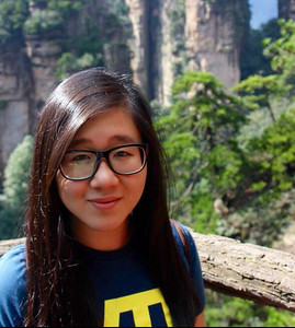 A Concordia International School Shanghai student in front of the Zhangjiajie National Forest Park.