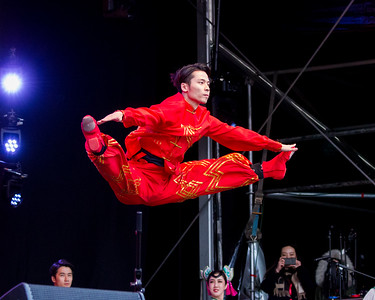 Chinese artists on the stage at Trafalgar Square to celebrate the year of the Earth Pig.