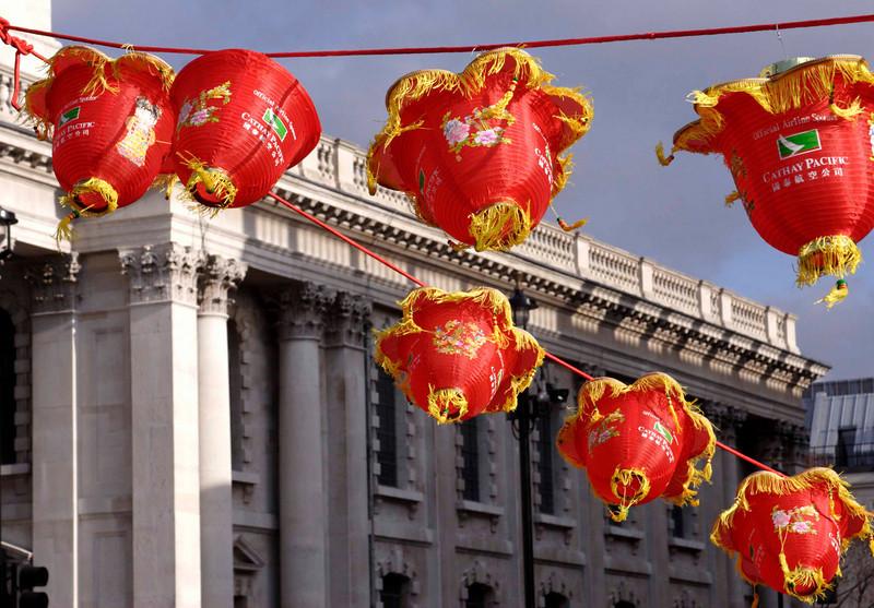 Hanging lanterns Chinese new year celebrations London 2009