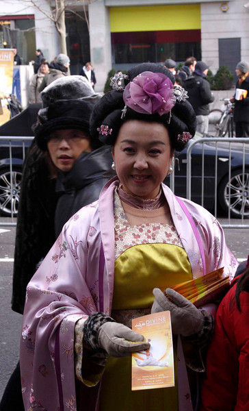 Traditionally dressed Chinese woman Chinese new year celebrations London 2009