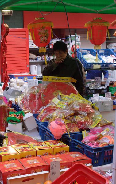 Chinese lantern stall at Chinese new year celebrations London 2009