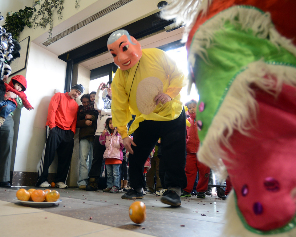 """Doug Sexton, playing the Happy Buddha, rolls out oranges for the lions.<br /> Members of the Tai Kung Ha Holistic Fitness Center performed a Chinese New Year Lion Dance at Pacific Ocean II Marketplace in Broomfield on Saturday.<br /> For more photos and a video, go to  <a href=""""http://www.dailycamera.com"""">http://www.dailycamera.com</a>.<br /> Cliff Grassmick / February10, 2013"""
