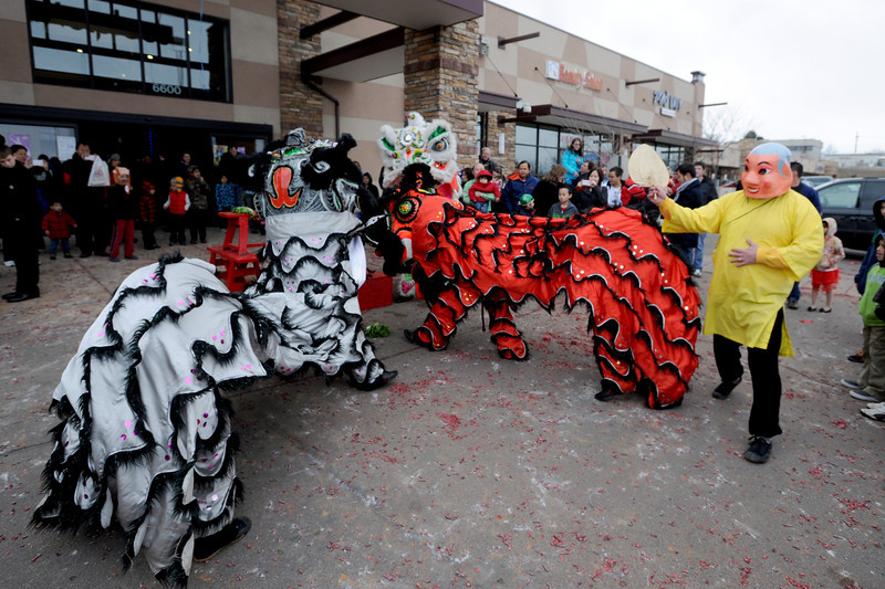 """Members of the Tai Kung Ha Holistic Fitness Center performed a Chinese New Year Lion Dance at Pacific Ocean II Marketplace in Broomfield on Saturday.<br /> For more photos and a video, go to  <a href=""""http://www.dailycamera.com"""">http://www.dailycamera.com</a>.<br /> Cliff Grassmick / February10, 2013"""