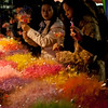 People buying flowers on new year eve