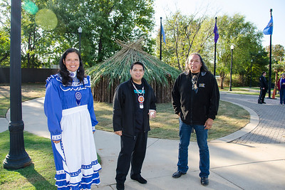 Choctaw dancer Amy Thompson, chanter Brad Joe and Choctaw cultural expert Les WIlliston.