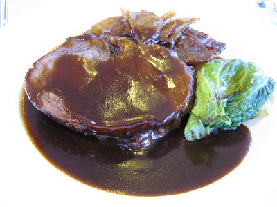 Braised tenderloin of beef with a red-wine reduction sauce, somewhere over the North Sea