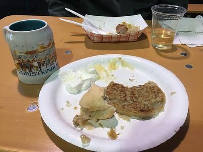 Warming up with German potato pancakes, sausage, saurkraut, warmed Glühwein and reisling.