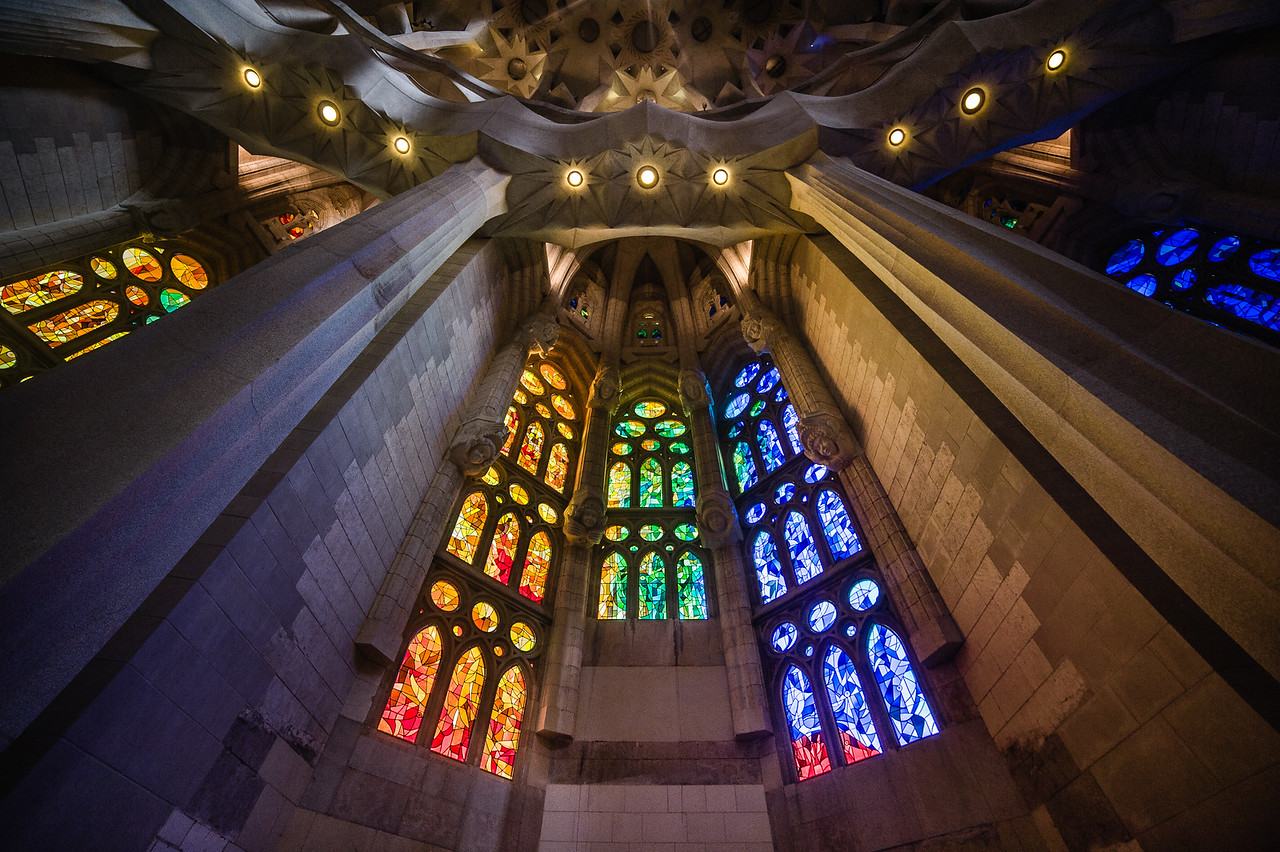 Gaudi's La Sagrada Familia, with stained glass windows portraying the elements.