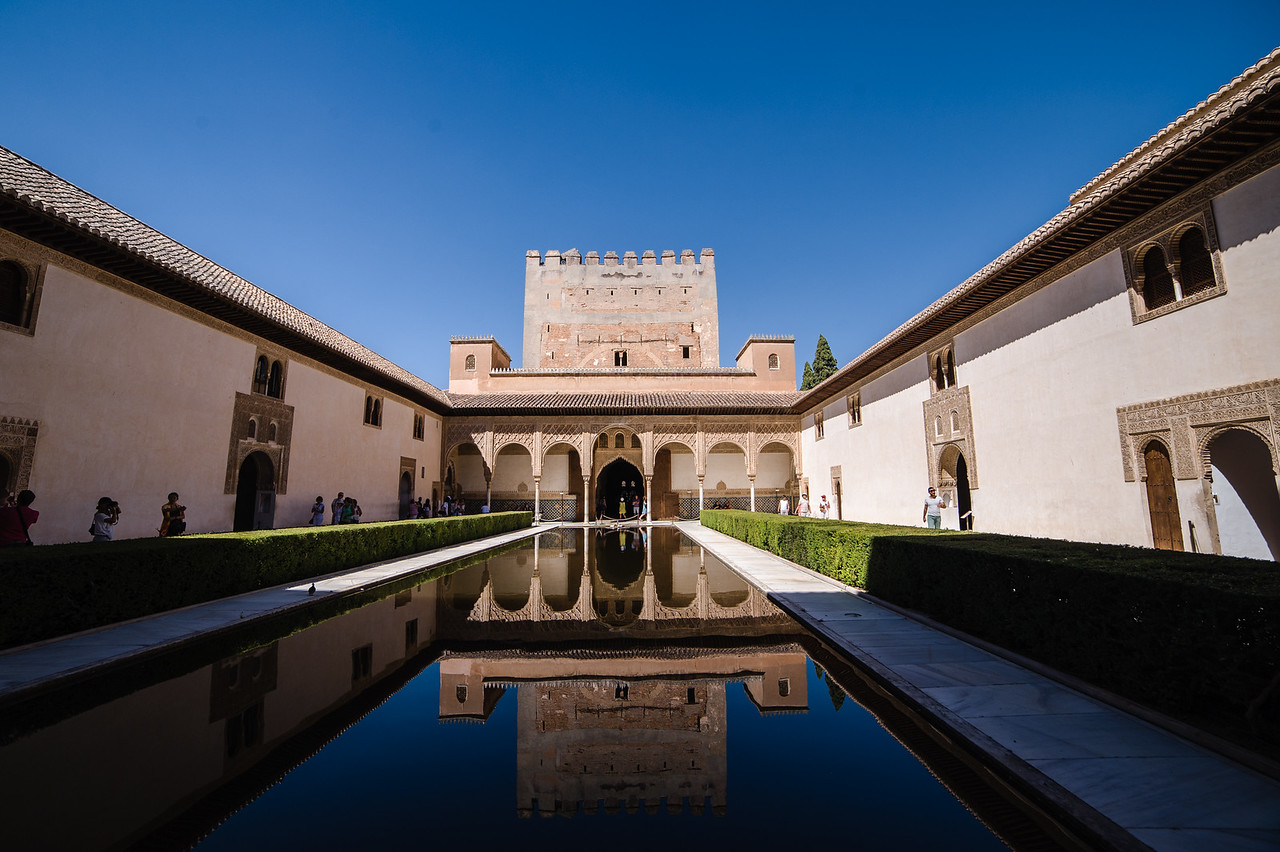 Inside the palace of Alhambra in Granada.