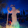 A sculpture of Santa at Christmas in Ice, North Pole, Alaska.