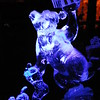 A holiday bear carved from ice at Christmas in Ice in North Pole, Alaska.