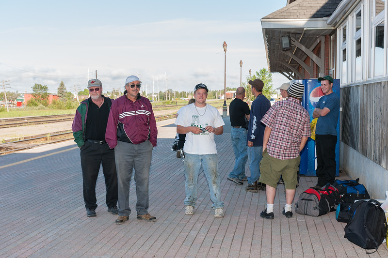 Mostly tourists waiting to board the Polar Bear Express in Cochrane 2007 July 6