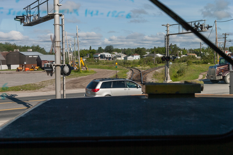 View from cab of GP38-2 1802 as the Polar Bear Express heads north from Cochrane almost across highway 11.